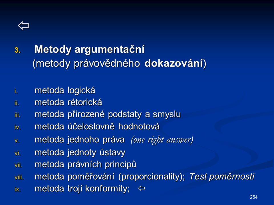  Metody argumentační (metody právovědného dokazování) metoda logická