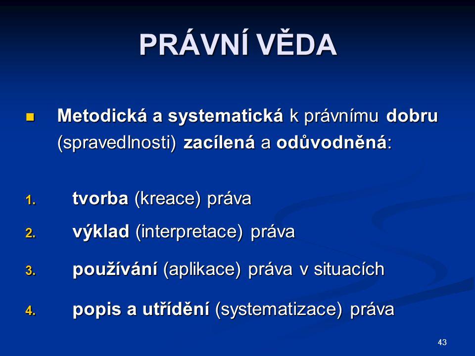 PRÁVNÍ VĚDA Metodická a systematická k právnímu dobru (spravedlnosti) zacílená a odůvodněná: tvorba (kreace) práva.