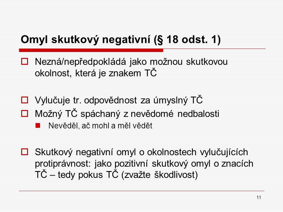 Omyl skutkový negativní (§ 18 odst. 1)