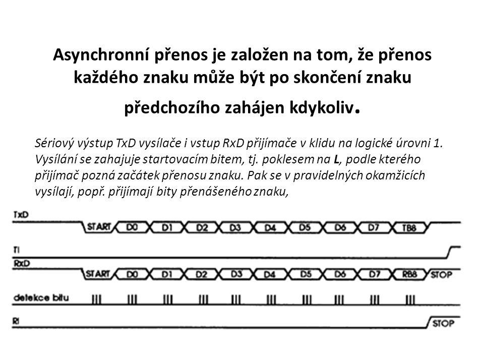 Asynchronní přenos je založen na tom, že přenos každého znaku může být po skončení znaku předchozího zahájen kdykoliv.