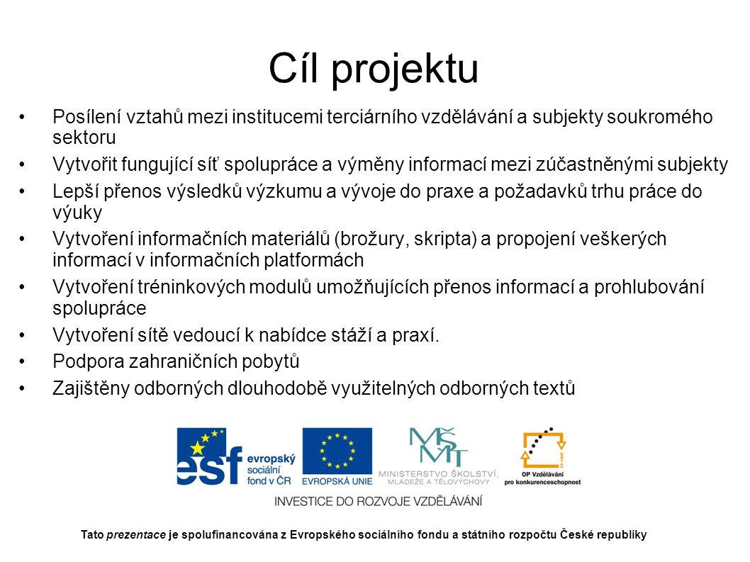 Cíl projektu Posílení vztahů mezi institucemi terciárního vzdělávání a subjekty soukromého sektoru.