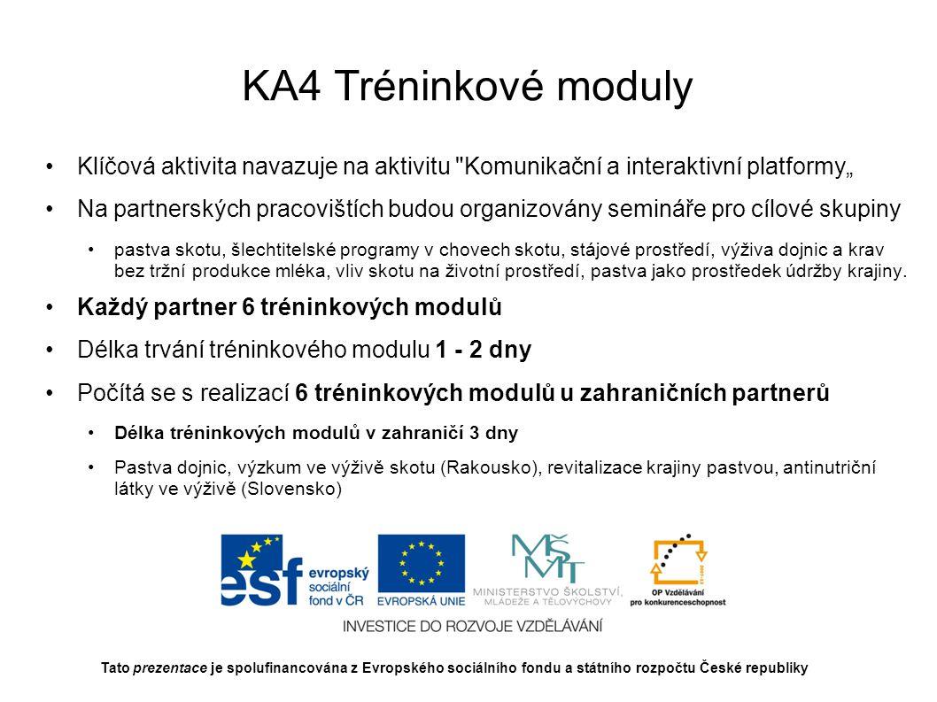 """KA4 Tréninkové moduly Klíčová aktivita navazuje na aktivitu Komunikační a interaktivní platformy"""""""