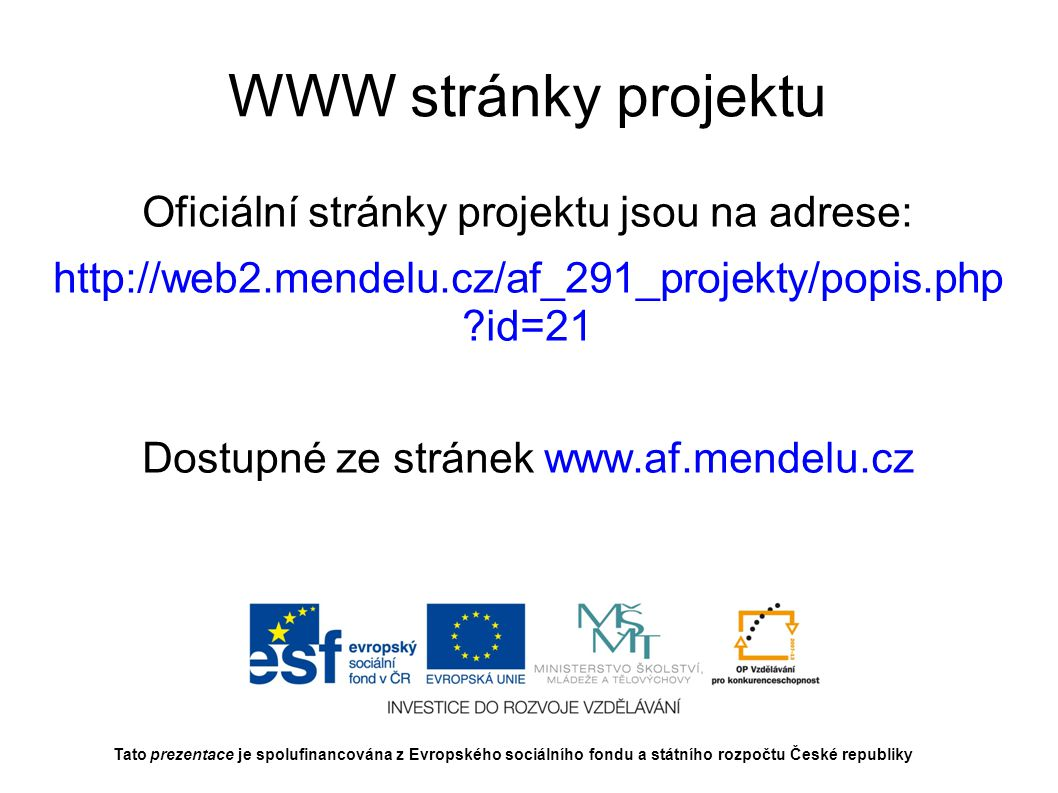WWW stránky projektu