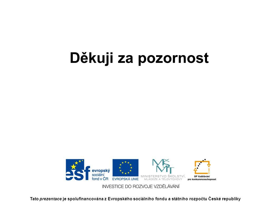 Děkuji za pozornost Tato prezentace je spolufinancována z Evropského sociálního fondu a státního rozpočtu České republiky.