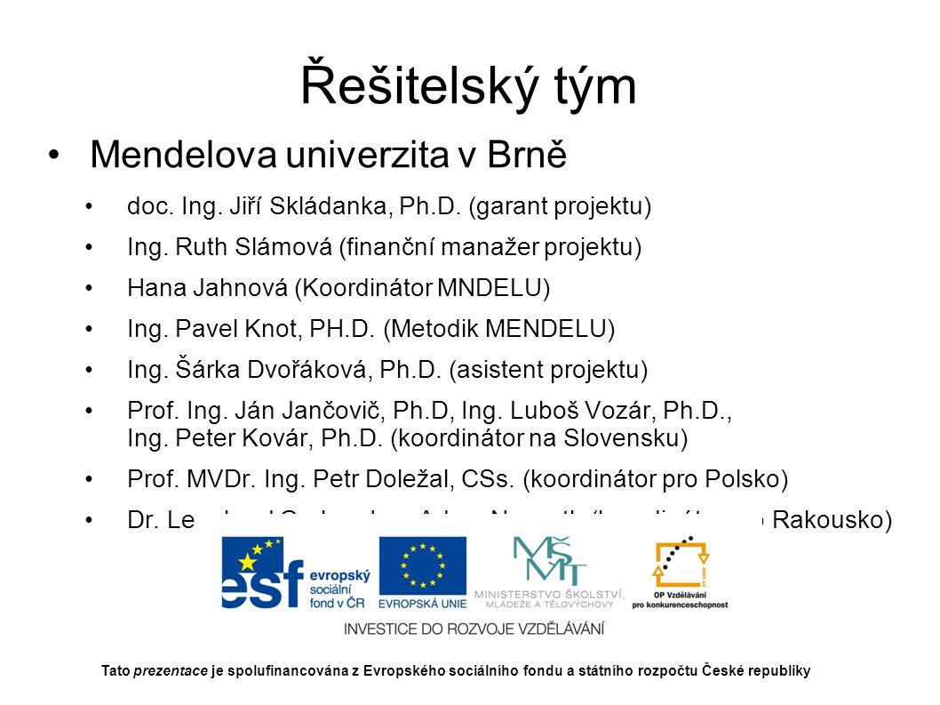 Řešitelský tým Mendelova univerzita v Brně