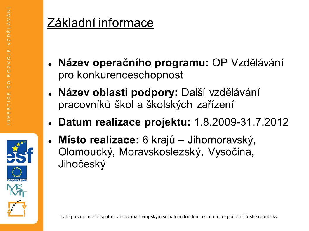 Základní informace Název operačního programu: OP Vzdělávání pro konkurenceschopnost.