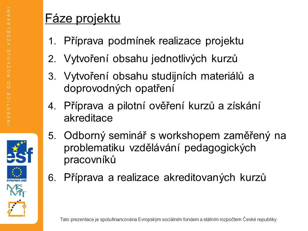 Fáze projektu Příprava podmínek realizace projektu