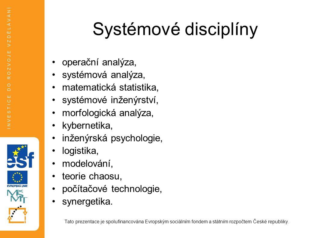 Systémové disciplíny operační analýza, systémová analýza,