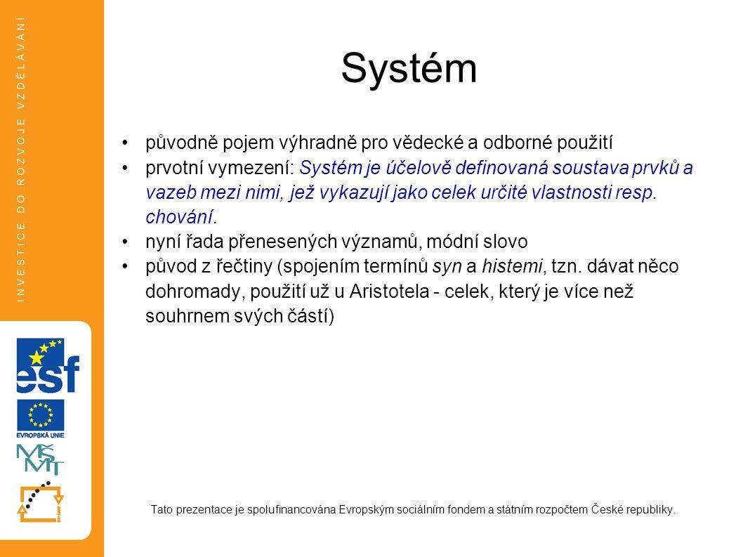 Systém původně pojem výhradně pro vědecké a odborné použití
