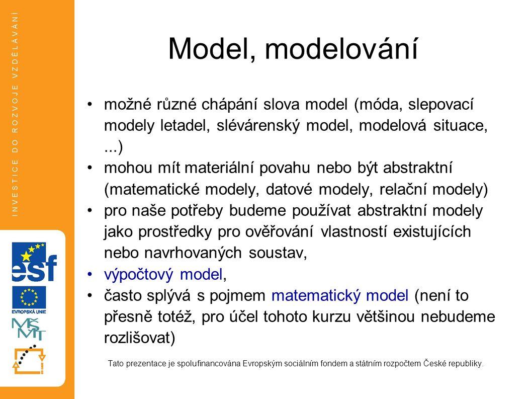Model, modelování možné různé chápání slova model (móda, slepovací modely letadel, slévárenský model, modelová situace, ...)