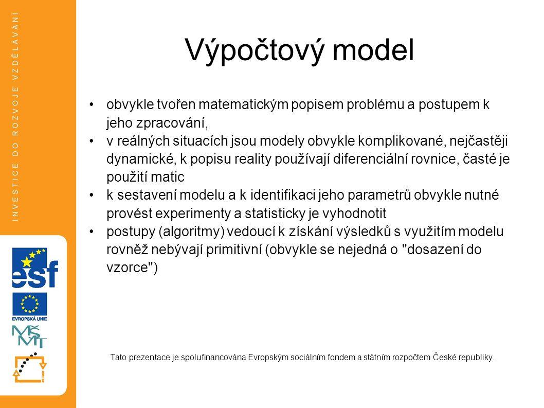 Výpočtový model obvykle tvořen matematickým popisem problému a postupem k jeho zpracování,