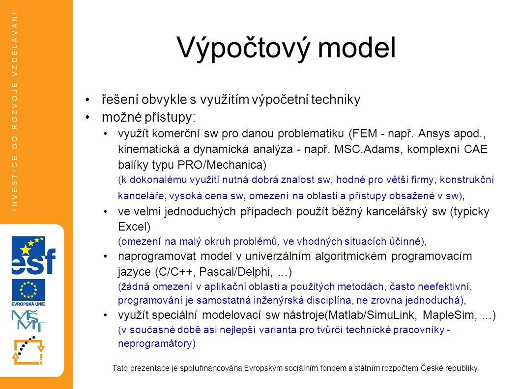 Výpočtový model řešení obvykle s využitím výpočetní techniky