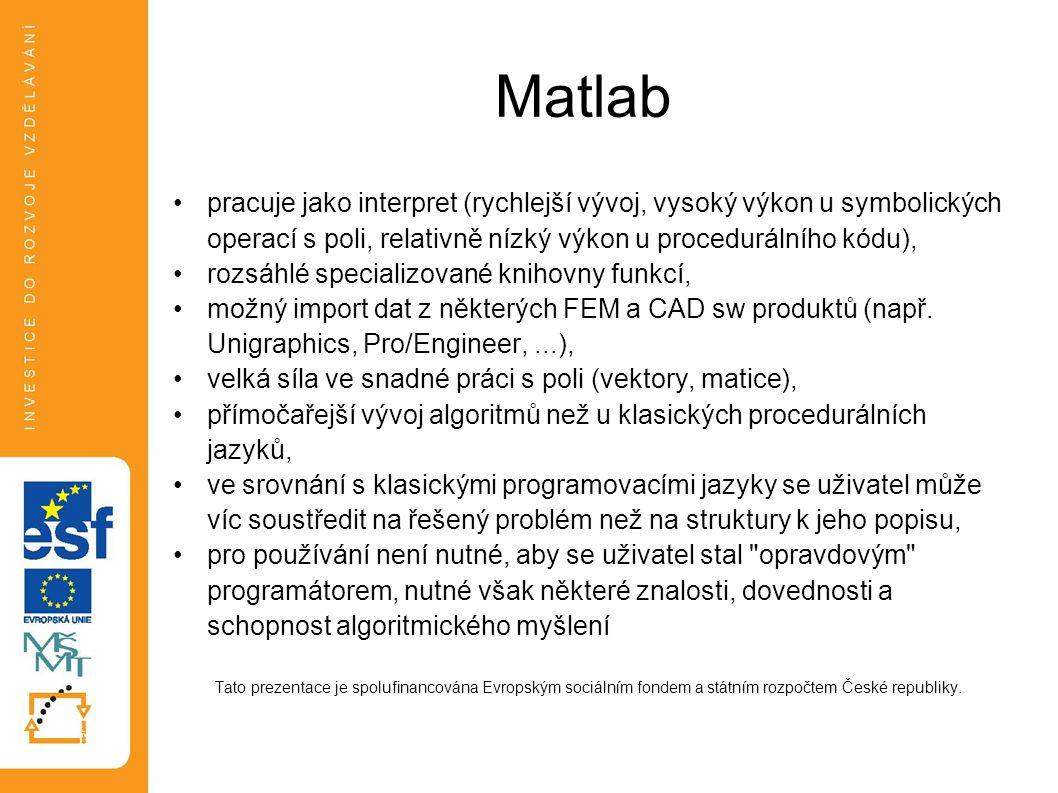 Matlab pracuje jako interpret (rychlejší vývoj, vysoký výkon u symbolických operací s poli, relativně nízký výkon u procedurálního kódu),