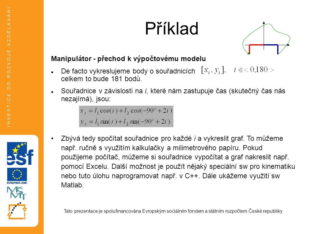 Příklad Manipulátor - přechod k výpočtovému modelu