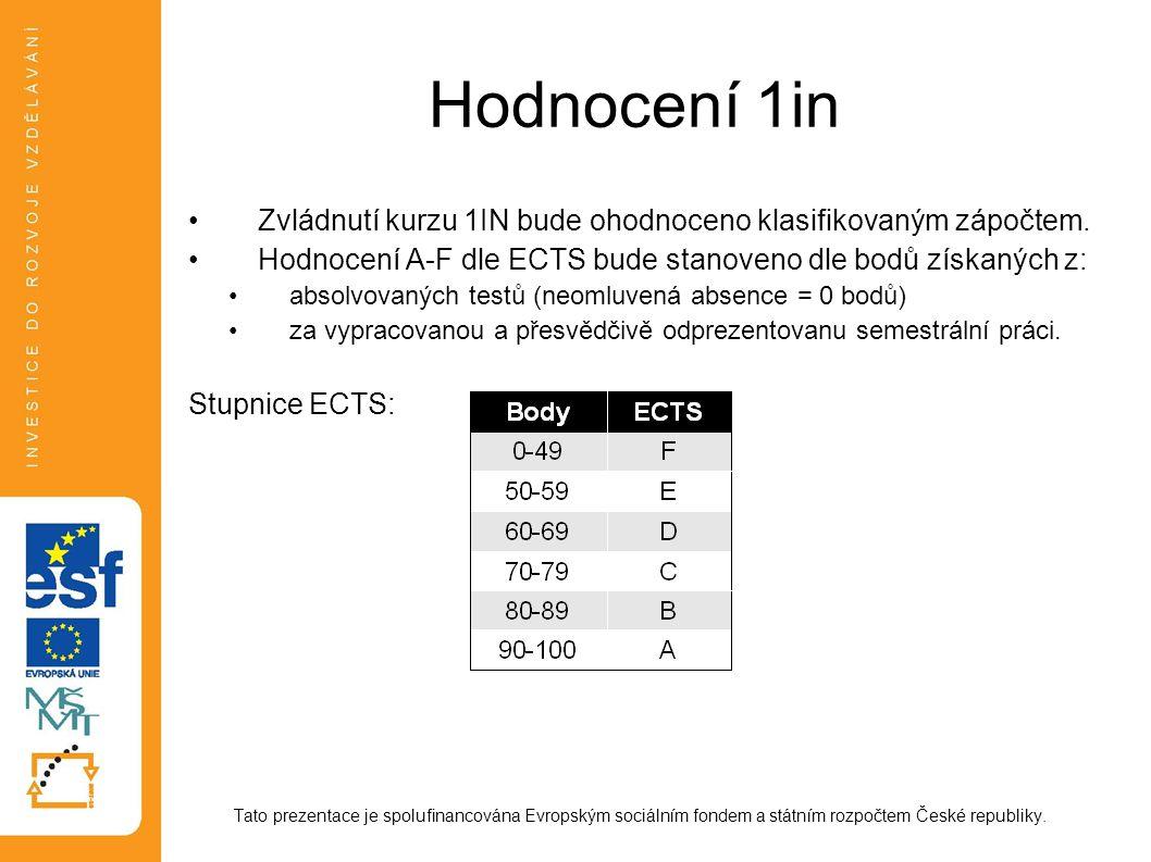 Hodnocení 1in Zvládnutí kurzu 1IN bude ohodnoceno klasifikovaným zápočtem. Hodnocení A-F dle ECTS bude stanoveno dle bodů získaných z: