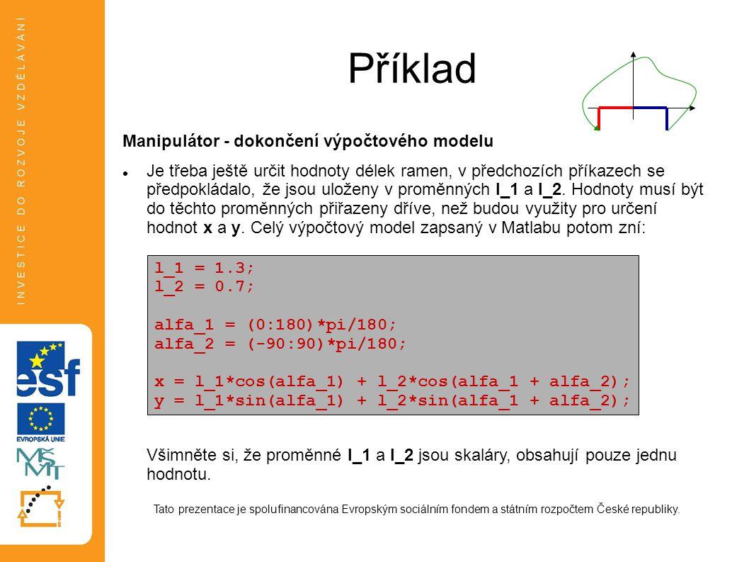 Příklad Manipulátor - dokončení výpočtového modelu