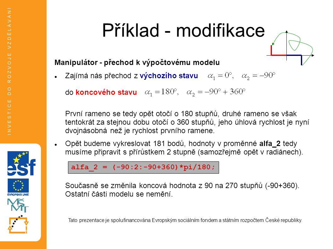 Příklad - modifikace Manipulátor - přechod k výpočtovému modelu