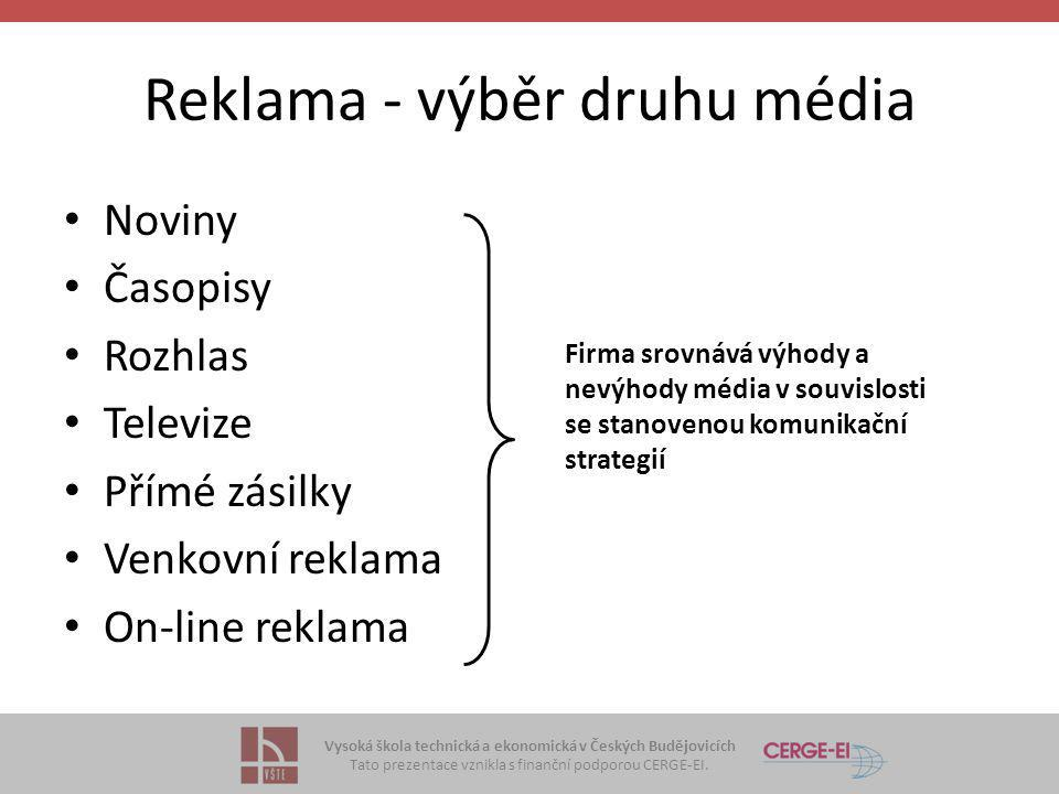 Reklama - výběr druhu média