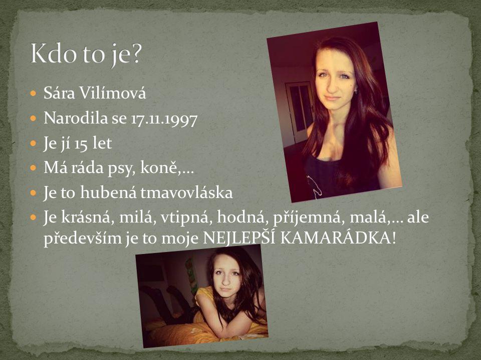 Sára Vilímová Narodila se 17.11.1997. Je jí 15 let. Má ráda psy, koně,… Je to hubená tmavovláska.