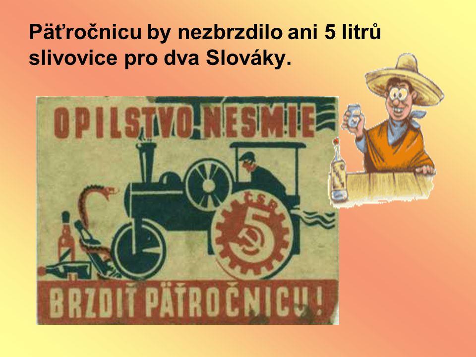 Päťročnicu by nezbrzdilo ani 5 litrů slivovice pro dva Slováky.
