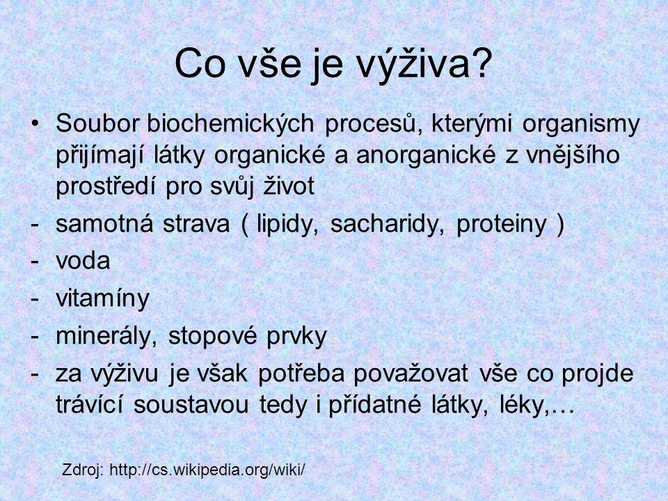 Co vše je výživa Soubor biochemických procesů, kterými organismy přijímají látky organické a anorganické z vnějšího prostředí pro svůj život.