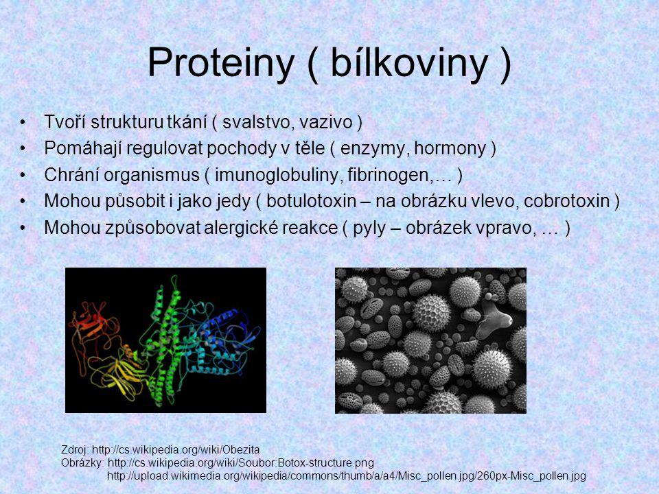 Proteiny ( bílkoviny ) Tvoří strukturu tkání ( svalstvo, vazivo )