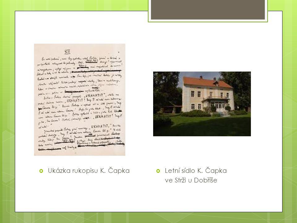 Ukázka rukopisu K. Čapka