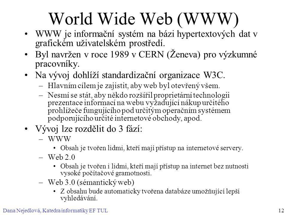 World Wide Web (WWW) WWW je informační systém na bázi hypertextových dat v grafickém uživatelském prostředí.