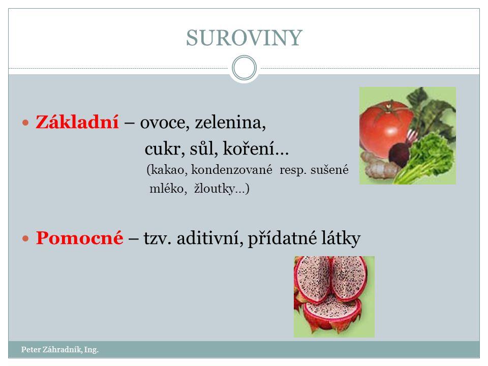 SUROVINY Základní – ovoce, zelenina, cukr, sůl, koření…