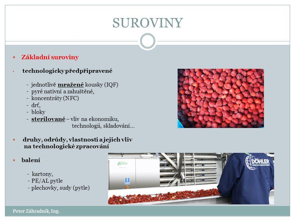SUROVINY Základní suroviny - jednotlivě mražené kousky (IQF)