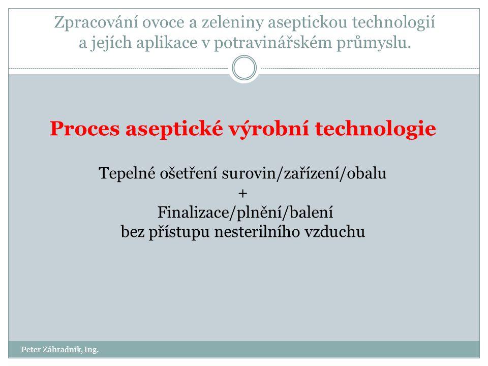 Proces aseptické výrobní technologie