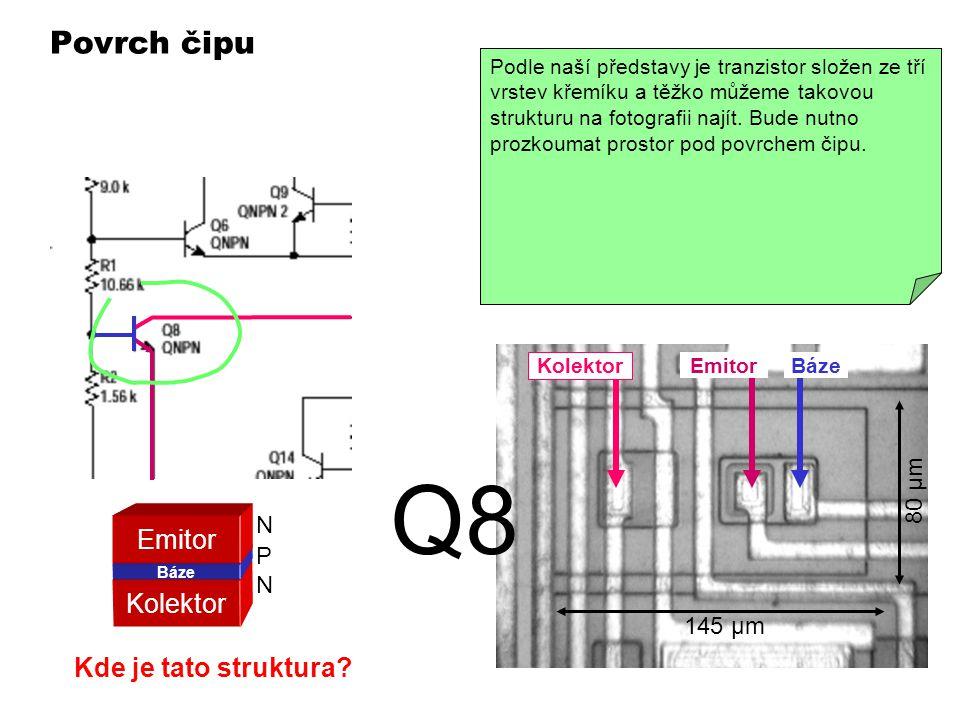 Q8 Povrch čipu Emitor Kolektor Kde je tato struktura 80 µm N P 145 µm