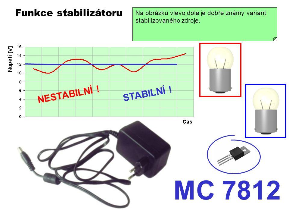 MC 7812 Funkce stabilizátoru NESTABILNÍ ! STABILNÍ !