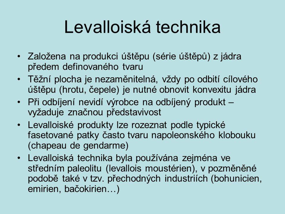 Levalloiská technika Založena na produkci úštěpu (série úštěpů) z jádra předem definovaného tvaru.