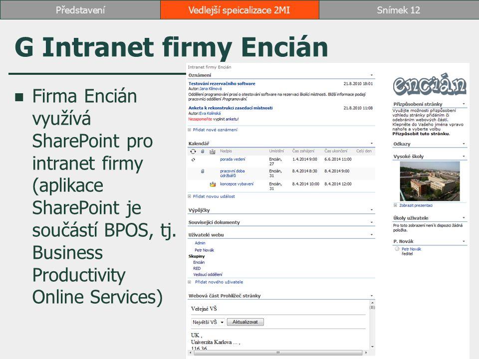 G Intranet firmy Encián