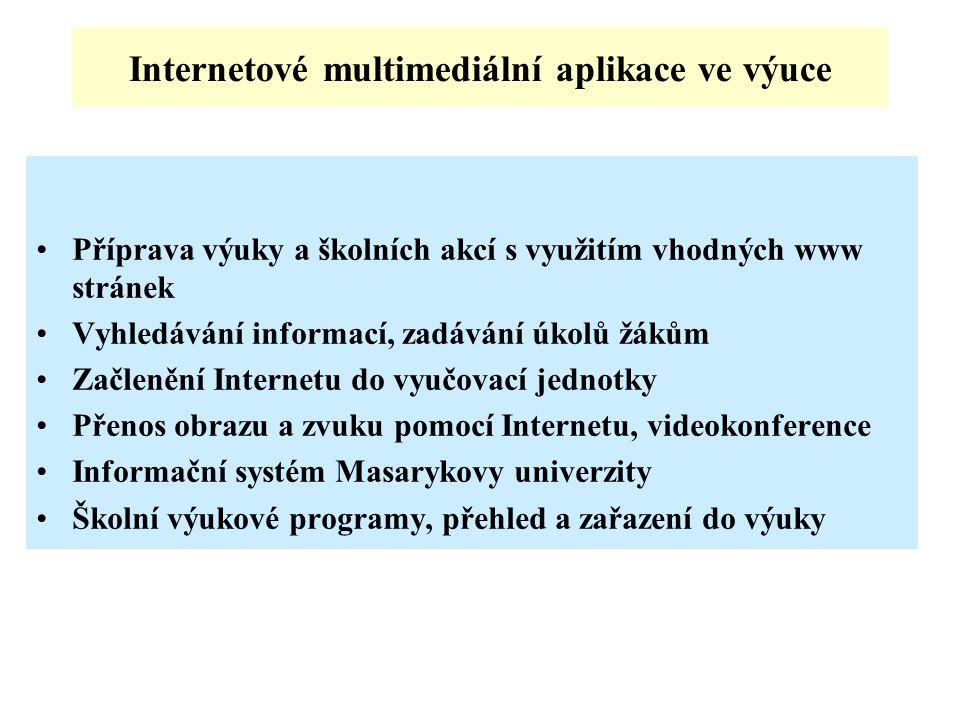 Internetové multimediální aplikace ve výuce