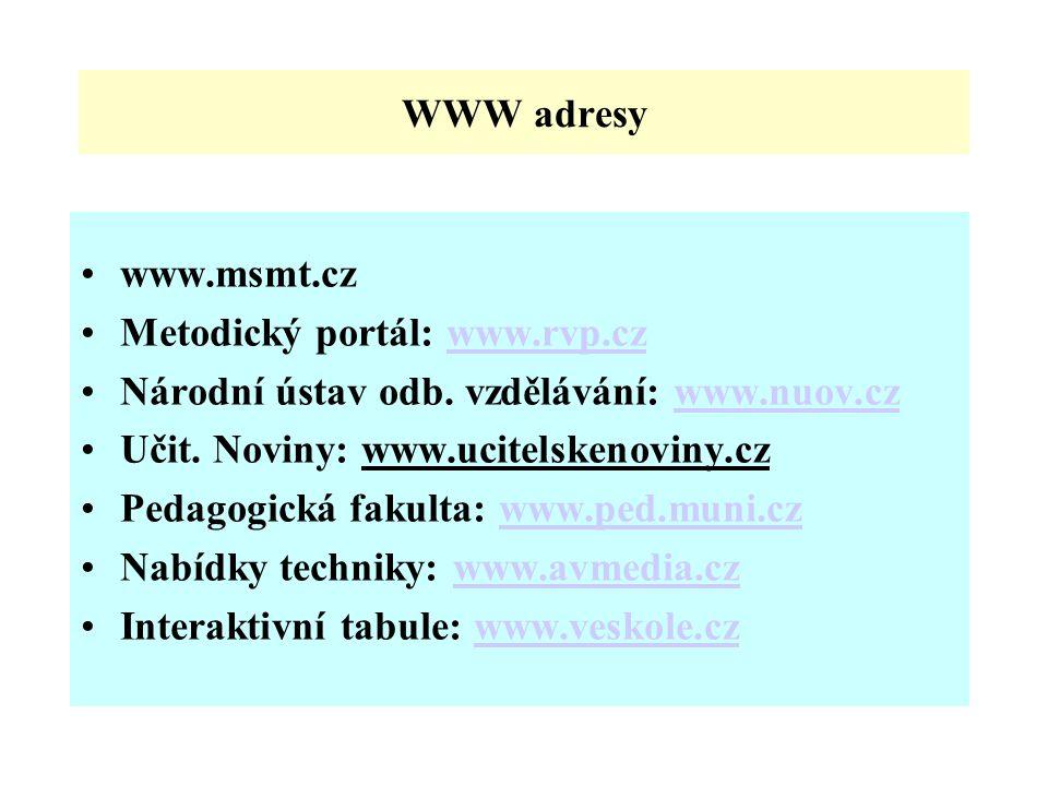 WWW adresy www.msmt.cz. Metodický portál: www.rvp.cz. Národní ústav odb. vzdělávání: www.nuov.cz.