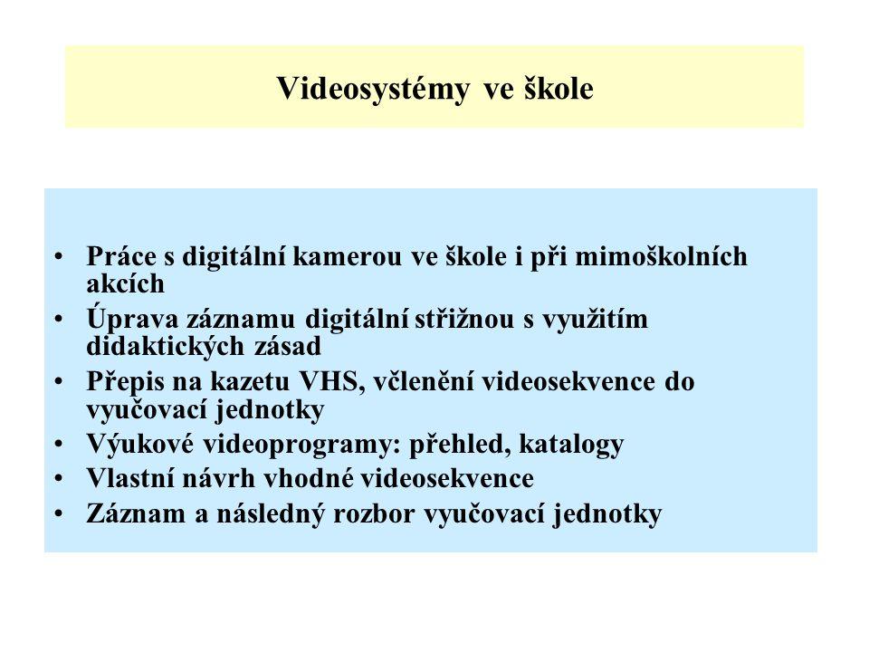 Videosystémy ve škole Práce s digitální kamerou ve škole i při mimoškolních akcích. Úprava záznamu digitální střižnou s využitím didaktických zásad.