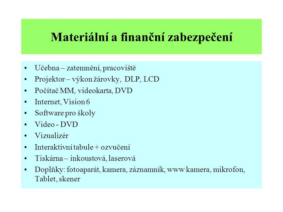 Materiální a finanční zabezpečení
