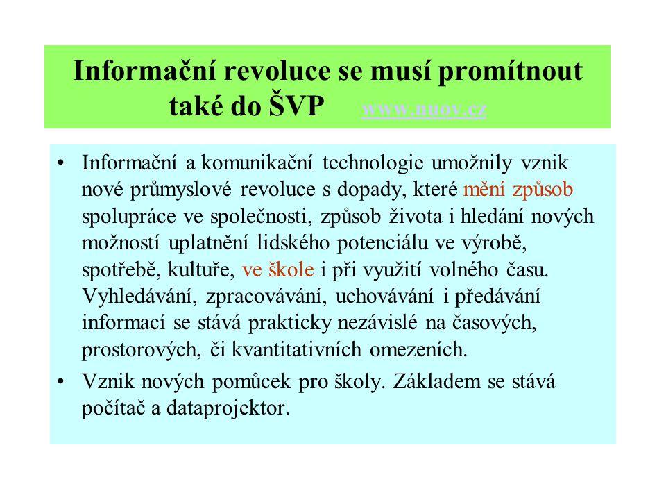 Informační revoluce se musí promítnout také do ŠVP www.nuov.cz