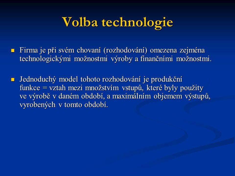 Volba technologie Firma je při svém chovaní (rozhodování) omezena zejména technologickými možnostmi výroby a finančními možnostmi.