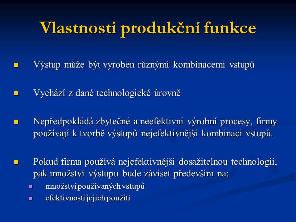 Vlastnosti produkční funkce