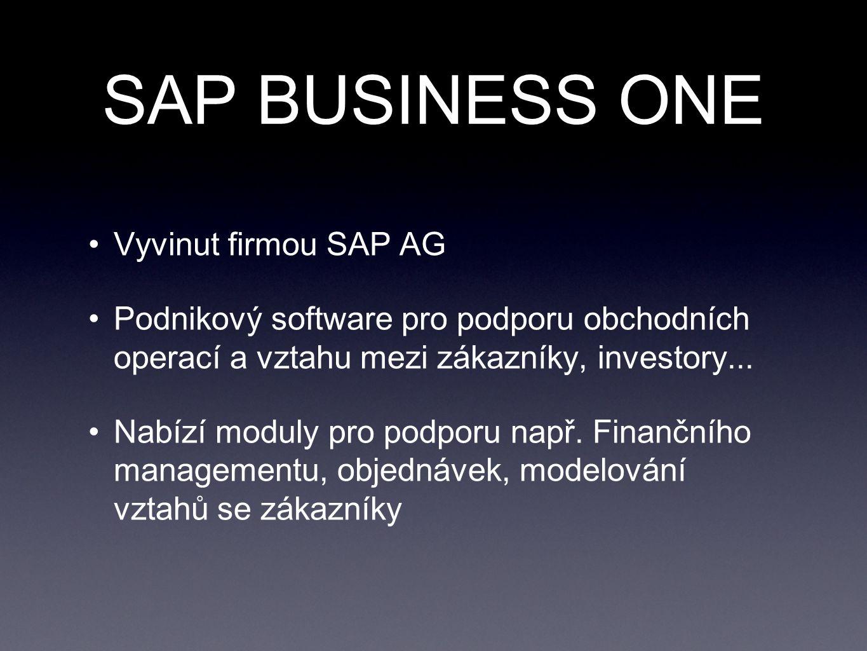 SAP BUSINESS ONE Vyvinut firmou SAP AG