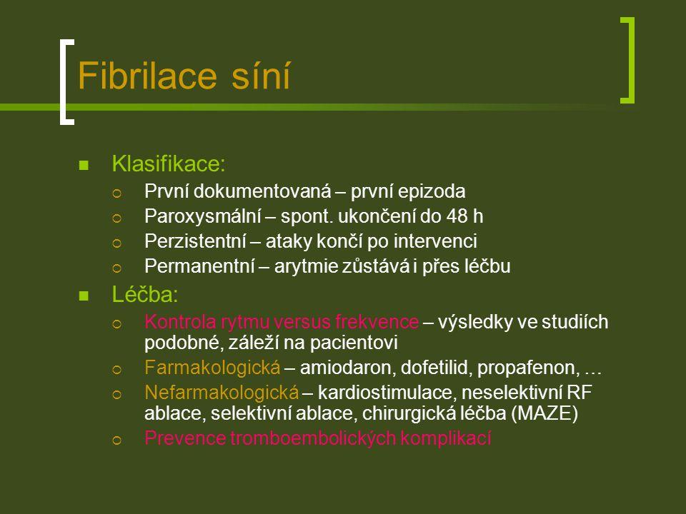 Fibrilace síní Klasifikace: Léčba: První dokumentovaná – první epizoda