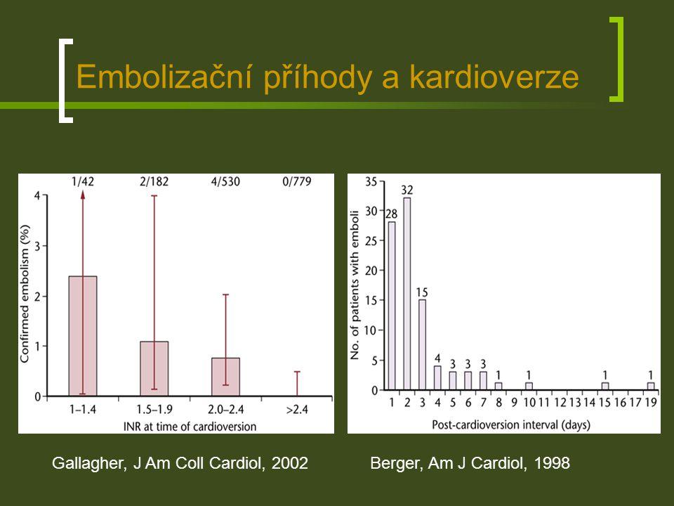 Embolizační příhody a kardioverze