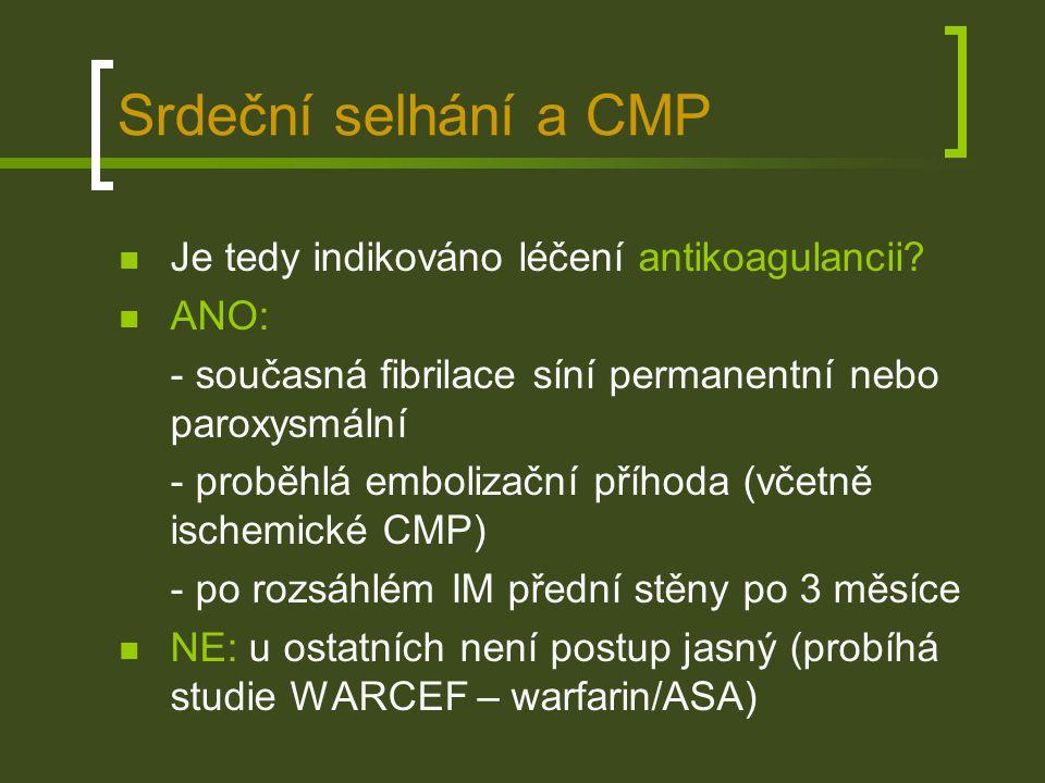 Srdeční selhání a CMP Je tedy indikováno léčení antikoagulancii ANO: