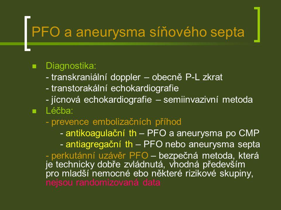PFO a aneurysma síňového septa