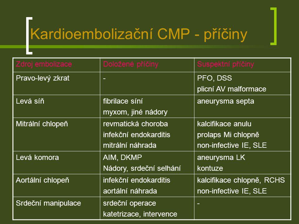Kardioembolizační CMP - příčiny