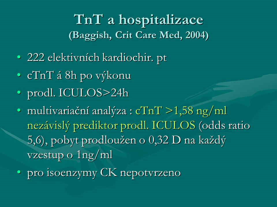 TnT a hospitalizace (Baggish, Crit Care Med, 2004)