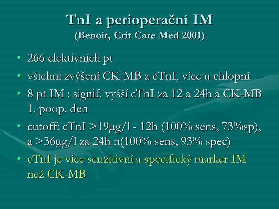 TnI a perioperační IM (Benoit, Crit Care Med 2001)